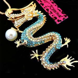 Betsey Johnson Blue Dragon Pendant/ Necklace-NWT